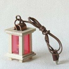 Krippenzubehör Laterne mit rotem Licht, mittel -
