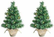 Krismase 2 SET Mini-Weihnachtsbaum, 45 cm hoch,