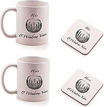 Kristall 15. Hochzeitstag HIS und HERS Tasse und Untersetzer Geschenk-Set–(2Stück)