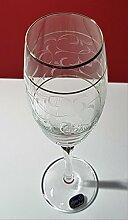Kristall Bohemia Gläser, Model Lilly, Platinränder (Platin) (Weinglas 6 x 250 ml)
