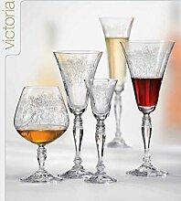 Kristall Bohemia Gläser -- Victoria -- 6 er Set-- mit Gravierung (Weinglas 6 x 190 ml)