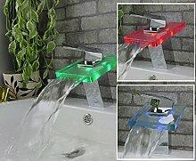Kristall Design LED Farbwechsel Glas & Chrom Wasserfall Waschbecken Wasserhahn