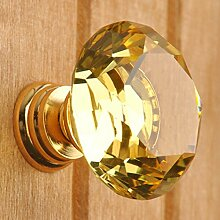 Kristall Glas Moebelgriffe sphaerisch Moebelknauf Moebelknopf Schrauben Moebelgriffe Schrankgriff 5pcs gelb 30mm