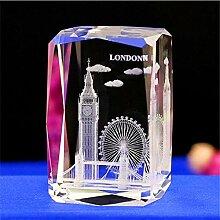 Kristall Glas Würfel London Modell Stadt Papier