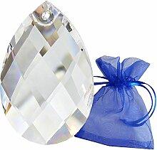 Kristall Tropfen 63mm im Geschenk-Beutel Facetten