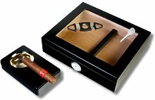 Kristallglas Black Finish Humidor-Set V-240 inkl.