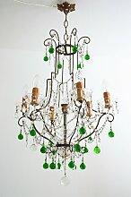 Kristallglas & Messing Kronleuchter mit grünen
