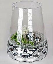 Kristallglas Windlicht DOTS konisch rund H. 44cm