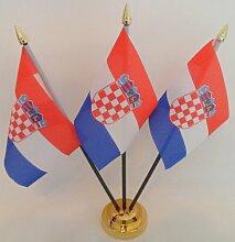 Kroatien Kroatische 3Flagge Desktop Tisch mit Gold Boden