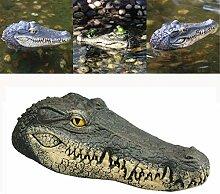 Krokodil Teich, Dekofigur Gartenfigur Schwimmtier