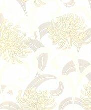 Krone Snow Kite cremefarben Gold Effekt Tapete