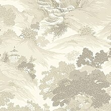 Krone Wallcoverings Oriental Landschaft Tapete, natur, Full Roll
