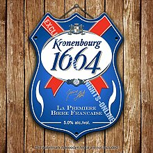 Kronenbourg 1664 Lagerbier Werbe Bar, Alte Pub Drink Pumpe Abzeichen Brewery Fass Fass Fassbier Real Ale Pint Alkohol Hops Form Metall/Stahl Wandschild - 27 x 20 cm