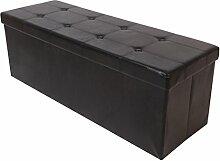 Kronenburg 110 x 38 x 38 cm - Sitzbank Faltbar Sitzwürfel Aufbewahrungsbox Belastbar bis 300 kg - Schwarz