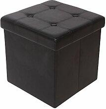 Kronenburg 38 x 38 x 38 cm - Faltbarer Sitzhocker Sitzwürfel Aufbewahrungsbox Hocker Schwarz