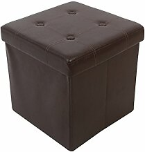 Kronenburg 38 x 38 x 38 cm - Faltbarer Sitzhocker Sitzwürfel Aufbewahrungsbox Hocker Braun