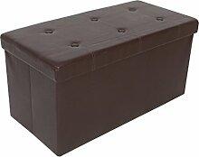 Kronenburg 76 x 38 x 38 cm - Sitzbank Faltbar Sitzwürfel Aufbewahrungsbox Belastbar bis 300 kg – Braun