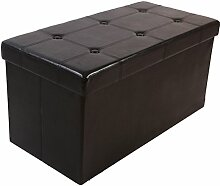 Kronenburg 76 x 38 x 38 cm - Sitzbank Faltbar Sitzwürfel Aufbewahrungsbox Belastbar bis 300 kg – Schwarz