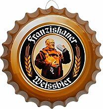 Kronkorken Bier Weissbier Rund Blechschild Ø 41 cm Bar Deko Schild Blech KK19
