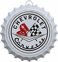 Kronkorken Chevrolet Corvette Rund Blechschild Ø 41cm Bar Deko Schild Blech KK45