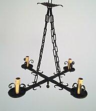 Kronleuchter aus Schmiedeeisen mit Kreuz-Gestell,