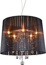 Kronleuchter Chrom mit schwarzem 50 cm 5-Licht -