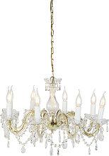 Kronleuchter Gold mit transparentem 8-Licht -