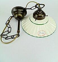 Kronleuchter jugendstil messing brüniert, Teller Keramik Wandleuchte 1Licht L1046Abmessungen: Höhe 75cm, Durchmesser Glas 19,5cm.Die Abmessungen sind inklusive des Teller.Edison und 27(Große Fassung).