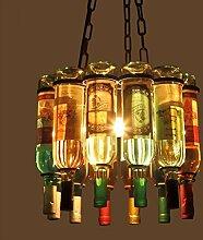 Kronleuchter ZLR Vintage Rustikale LOFT Kreative Persönlichkeit Bar Coffee Shop Glas Weinglas Schmiedeeisen Dekorative Flasche Retro Kreative Design E27