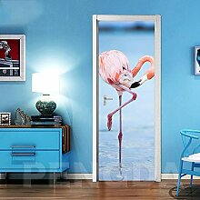 KSYFFS Türtapete Flamingo Seelandschaft 95*215CM