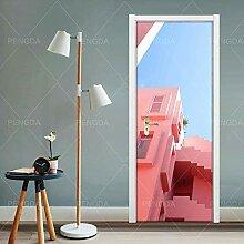 KSYFFS Türtapete Rosa architektonische Ideen
