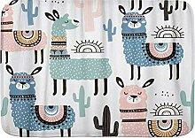 kThrones Badematte Teppich Alpaka mit Lama Cactus