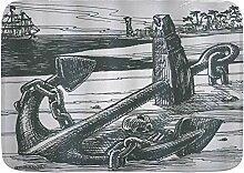 kThrones Badematte Teppich Anker mit Schädel von
