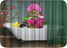 kThrones Badematte Teppich Tierkatze mit einem Bad