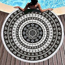 KTLRR Bohemien-Stil, rund, Sonnenschutz, Strand-Handtuch, 100% Mikrofaser, mit Quasten, Bikini-, Yoga-Matte, muster 2, Diameter 59