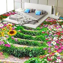 Kuamai Benutzerdefinierte 3D Boden Tapete Blumen