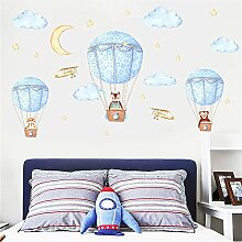 kuamai Cartoon Blau Hot Air Balloon Wolken Mond