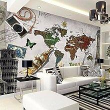 Kuamai Retro Weltkarte Tapete Großes Wandbild