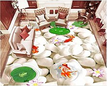 Kuamai Vinyl Bodenbelag weiße Kieselsteine