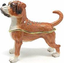 Kubla Crafts emailierten Boxer Hund Schmuckdose,