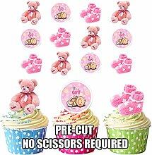 Kuchen-Dekorationen, Rosa, für Mädchen, essbar, stehend, für Cupcakes und Kuchen, 12 Stück