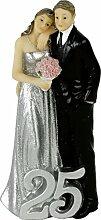 Kuchenaufsatz / Tortenaufsatz / Cake Topper / Tortenfigur 25 Jahre Brautpaar aus Polyresin - Silberhochzeit - Silberhochzeitdeko - Hochzeitstorte
