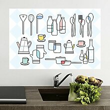 Küche anti-Öldämpfe aus der Oberfläche temperaturbeständig Aufkleber Fliesen- glas Stick mit der wasserdichten Wand Extraktoren ölbeständige Aufkleber 90 * 60 cm, Farbe.