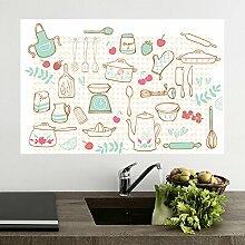 Küche anti-Öldämpfe aus der Oberfläche temperaturbeständig Aufkleber Fliesen- glas Stick mit der wasserdichten Wand Extraktoren ölbeständige Aufkleber 90 * 60 cm, süsse küche