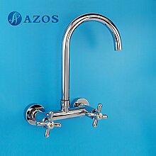 Küche Armatur Messing Single Loch chrom Polish Wandhalterung Hot und Cold Water Mischbatterie cflr011