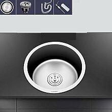 Küche Edelstahl Spüle einzelnen Trog runden Waschbecken Runde Waschbecken Set Schüssel Pool Set Wasser Zubehör Balkon klein wx4181052 (Farbe : Set meal A)