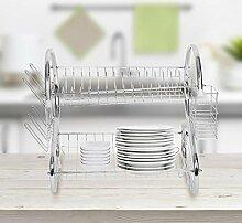 Küche Geschirrständer Abtropfgestell 2 Etagen Geschirrabtropfkorb Geschirr Halterung mit Abtropfschale und Besteckkorb