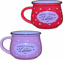 Küche / Haushalt Kaffeebecher Modell 8 mit Sternen 2er-Pack rosa + rot 330 ml