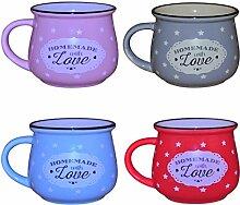 Küche / Haushalt Kaffeebecher Modell 8 mit Sternen 4er-Pack - blau, lila, rosa, rot 330 ml