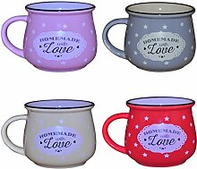 Küche / Haushalt Kaffeetasse Modell 8 mit Sternen 4er-Pack - gelb, lila, rosa, rot 330 ml